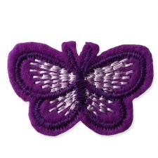 PURPLE BUTTERFLY MOTIF IRON ON EMBROIDERED PATCH APPLIQUE